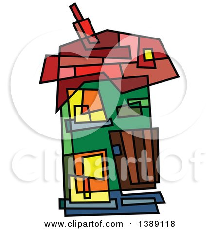Clipart of a Doodled Abstract Colorful House - Royalty Free Vector Illustration by Prawny