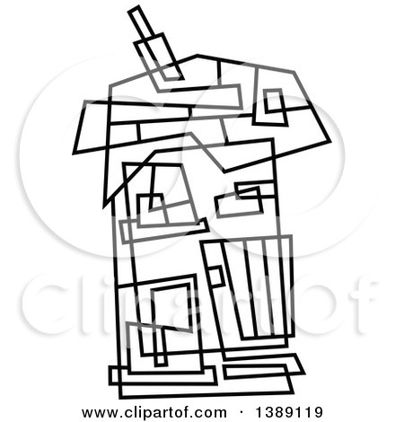 Clipart Of A Doodled Abstract Black And White House