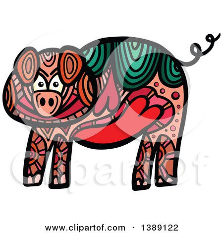 Clipart of a Doodled Pig - Royalty Free Vector Illustration by Prawny