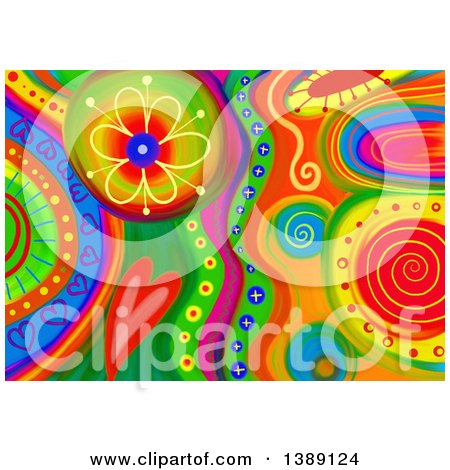 Clipart of a Colorful Abstract Floral and Heart Doodle Background - Royalty Free Illustration by Prawny