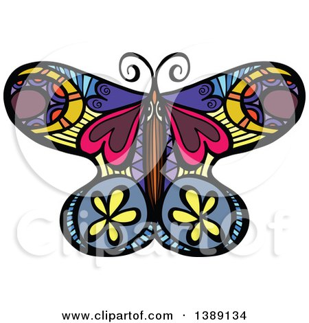 Clipart of a Doodled Colorful Butterfly - Royalty Free Vector Illustration by Prawny