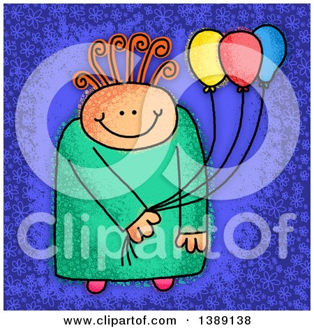 Clipart of a Sketched Happy Child Holding Party Balloons, over Blue - Royalty Free Illustration by Prawny