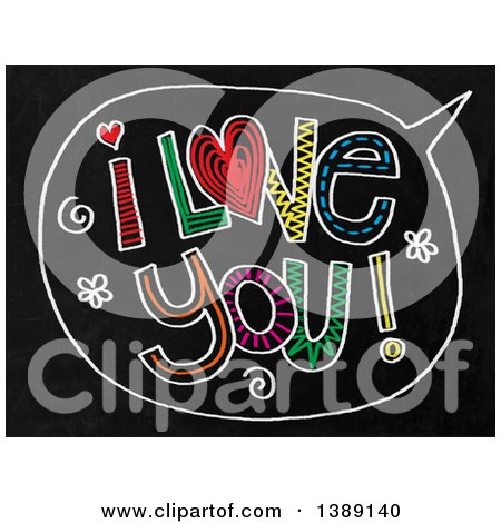Clipart of a Doodled Chalk Speech Balloon with I Love You Text on a Black Board - Royalty Free Illustration by Prawny