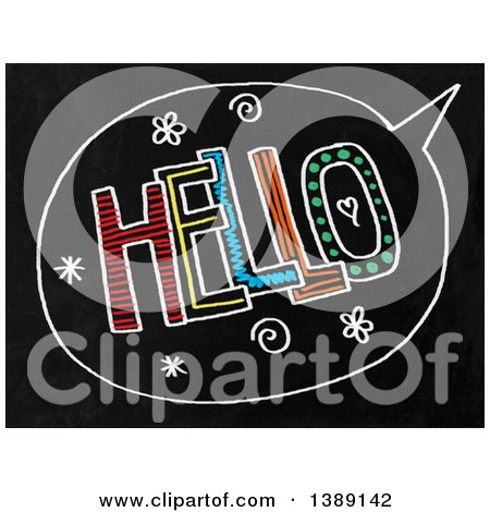 Clipart of a Doodled Chalk Speech Balloon with Hello Text on a Black Board - Royalty Free Illustration by Prawny