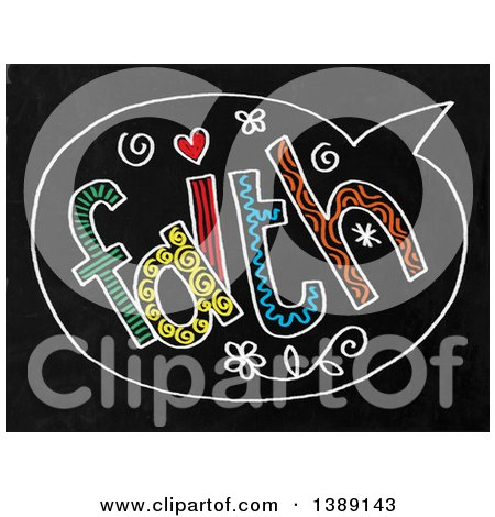 Clipart of a Doodled Chalk Speech Balloon with Faith Text on a Black Board - Royalty Free Illustration by Prawny
