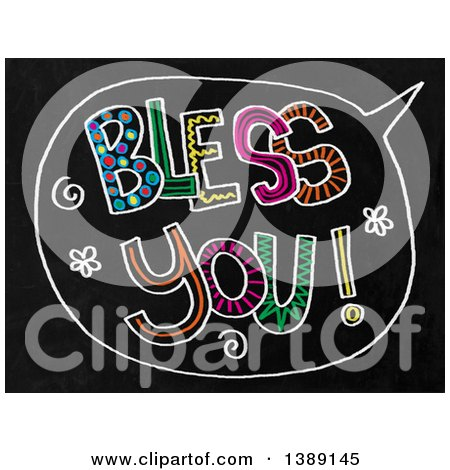 Clipart of a Doodled Chalk Speech Balloon with Bless You Text on a Black Board - Royalty Free Illustration by Prawny