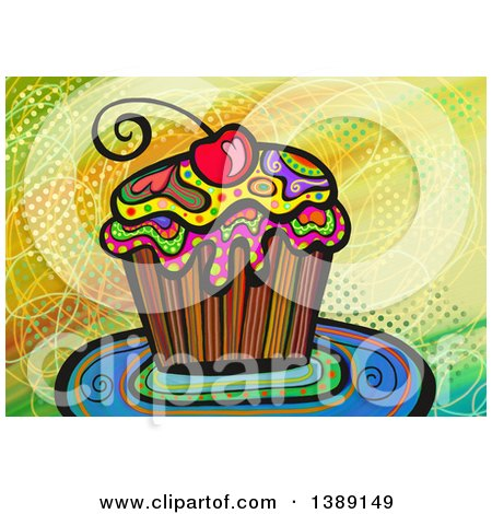 Clipart of a Folk Art Cupcake with a Cherry - Royalty Free Illustration by Prawny