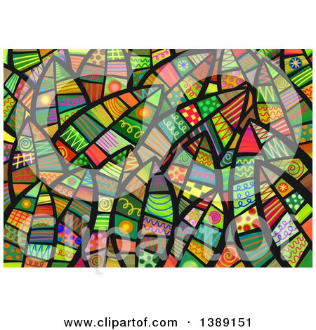 Clipart of a Background of Folk Art Leaves - Royalty Free Illustration by Prawny
