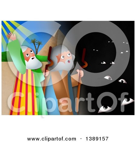 Clipart of a Moses and Aaron, the Plague of Darkness from the Book of Exodus - Royalty Free Illustration by Prawny