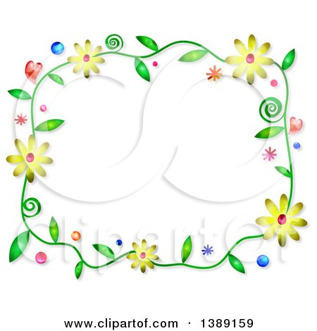 Clipart of a Watercolor Floral Frame on White - Royalty Free Illustration by Prawny