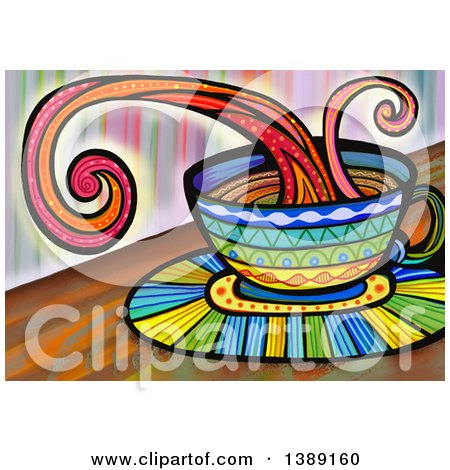 Clipart of a Folk Art Splashing Coffee Cup - Royalty Free Illustration by Prawny
