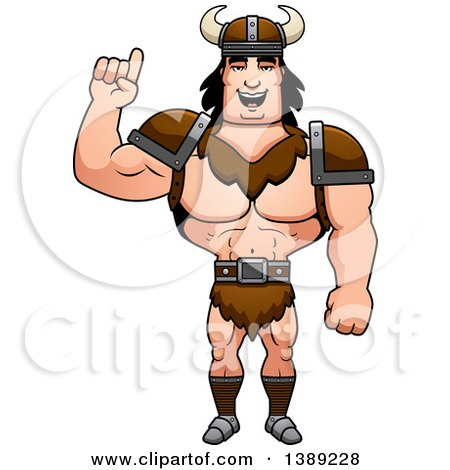 Clipart of a Buff Barbarian Man Holding up a Finger - Royalty Free Vector Illustration by Cory Thoman
