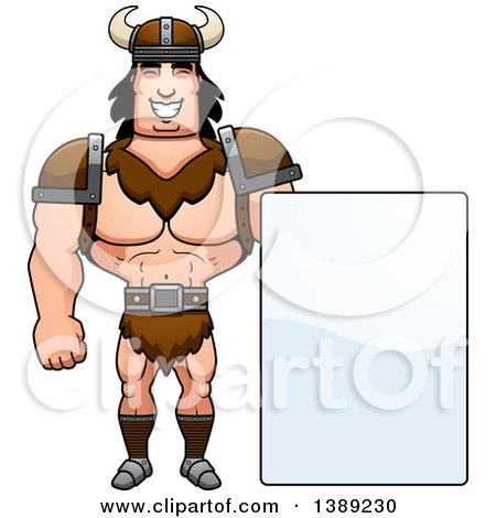 Clipart of a Buff Barbarian Man by a Blank Sign - Royalty Free Vector Illustration by Cory Thoman