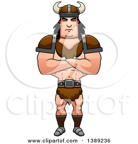 Clipart of a Buff Barbarian Man with Folded Arms - Royalty Free Vector Illustration by Cory Thoman