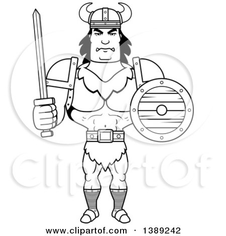 Clipart of a Black and White Lineart Buff Barbarian Man Holding a Sword and Shield - Royalty Free Vector Illustration by Cory Thoman