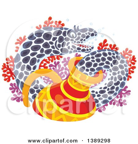 Clipart of a Moray Eel Emerging from a Sunken Vase, over Red and Purple Corals - Royalty Free Vector Illustration by Alex Bannykh