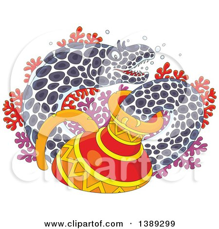 Clipart of a Cartoon Moray Eel Emerging from a Sunken Vase, over Corals - Royalty Free Vector Illustration by Alex Bannykh