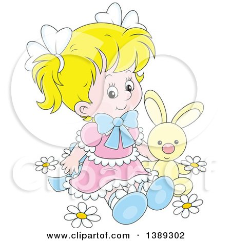 Clipart of a Cartoon Blond White Girl Sitting with a Stuffed Bunny Rabbit in Spring Flowers - Royalty Free Vector Illustration by Alex Bannykh