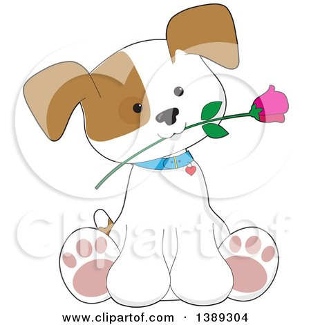 Clipart of a Cartoon Cute Puppy Dog Sitting with a Rose in His Mouth - Royalty Free Vector Illustration by Maria Bell