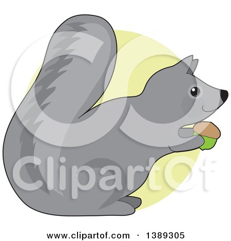 Clipart of a Cartoon Happy Gray Squirrel Holding an Acorn, over a Green Circle - Royalty Free Vector Illustration by Maria Bell