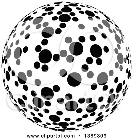 Clipart of a Black and White Dotted Globe, Sphere, Orb or Planet - Royalty Free Vector Illustration by dero