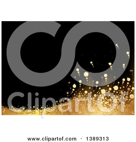 Clipart of a Background of Gold Dots Forming a Wave on Black - Royalty Free Vector Illustration by dero