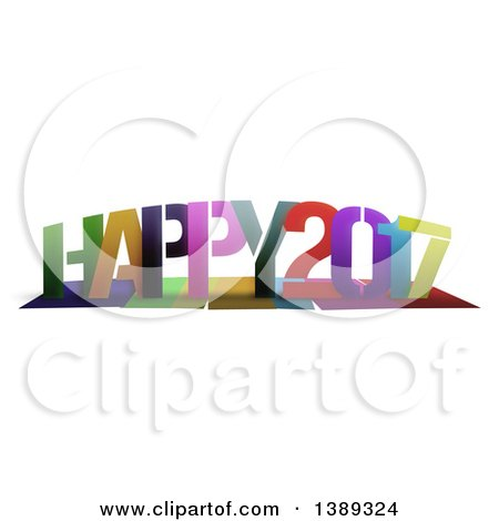 Clipart of a Colorful Greeting, Happy 2017, with Shadows, on White - Royalty Free Illustration by MacX