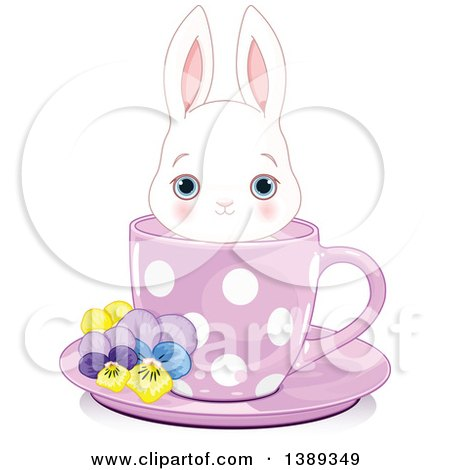 Clipart of a Cute Blue Eyed White Bunny Rabbit in a Purple Tea Cup - Royalty Free Vector Illustration by Pushkin