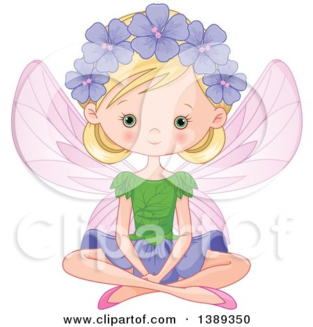 Clipart of a Blond Caucasian Garden Fairy Sitting - Royalty Free Vector Illustration by Pushkin