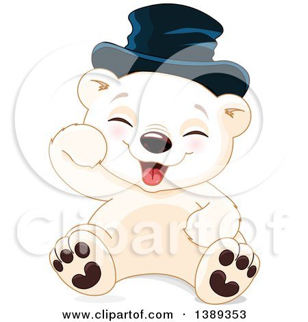 Clipart of a Cute Baby Polar Bear Cub Wearing a Hat, Sitting and Laughing - Royalty Free Vector Illustration by Pushkin