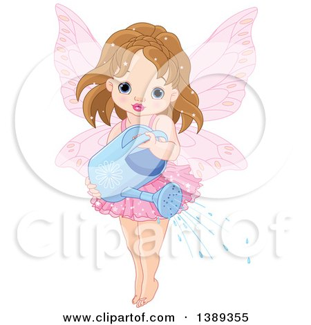 Clipart of a Brunette Caucasian Garden Fairy Girl Using a Watering Can - Royalty Free Vector Illustration by Pushkin