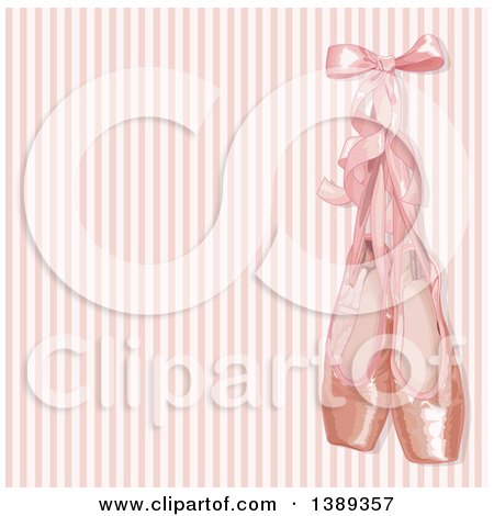 Clipart of a Background of Pink Ballerina Slippers over Stripes - Royalty Free Vector Illustration by Pushkin