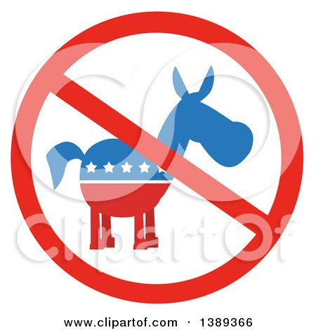 Clipart of a Restricted Symbol over a Political Democratic Donkey in Red White and Blue with Stars - Royalty Free Vector Illustration by Hit Toon