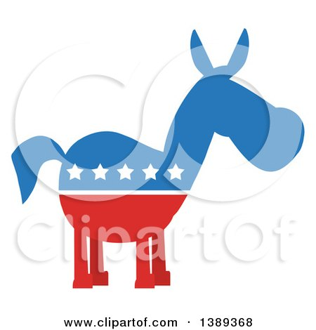 Clipart of a Political Democratic Donkey in Red White and Blue with Stars - Royalty Free Vector Illustration by Hit Toon
