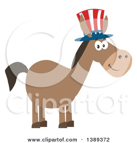 Clipart of a Flat Design Political Democratic Donkey Wearing a Patriotic Top Hat - Royalty Free Vector Illustration by Hit Toon