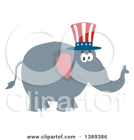 Clipart of a Flat Design Political Republican Elephant Wearing an American Top Hat - Royalty Free Vector Illustration by Hit Toon