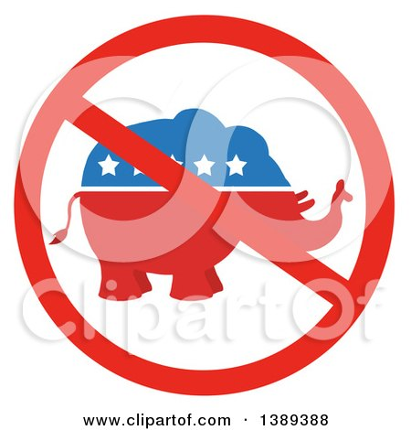 Clipart of a Restricted Symbol over a Red White and Blue Political Republican Elephant with Stars - Royalty Free Vector Illustration by Hit Toon