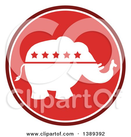 Clipart of a Round Red Political Republican Elephant with Stars Label - Royalty Free Vector Illustration by Hit Toon