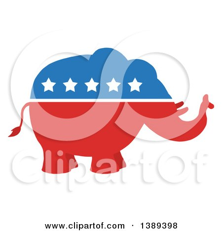 Clipart of a Red White and Blue Political Republican Elephant with Stars - Royalty Free Vector Illustration by Hit Toon