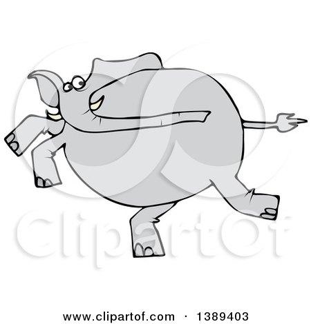 Clipart of a Cartoon Gray Elephant Running - Royalty Free Vector Illustration by djart