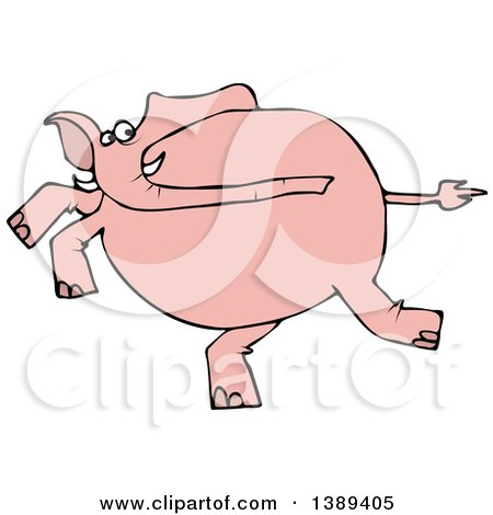 Clipart of a Cartoon Pink Elephant Running - Royalty Free Vector Illustration by djart