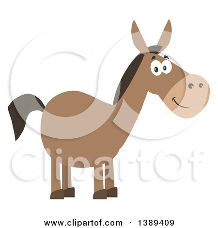 Clipart of a Flat Design Happy Donkey - Royalty Free Vector Illustration by Hit Toon