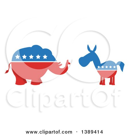 Clipart of a Red White and Blue Democratic Donkey Facing a Republican Elephant - Royalty Free Vector Illustration by Hit Toon