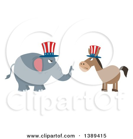 Clipart of a Flag Design Political Democratic Donkey and Republican Elephant Facing Each Other - Royalty Free Vector Illustration by Hit Toon