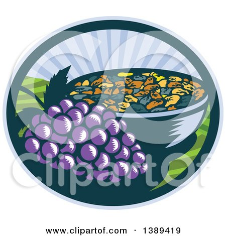 Clipart of a Retro Woodcut Bunch of Purple Grapes by a Bowl of Raisins in an Oval with a Sunrise or Sunset - Royalty Free Vector Illustration by patrimonio
