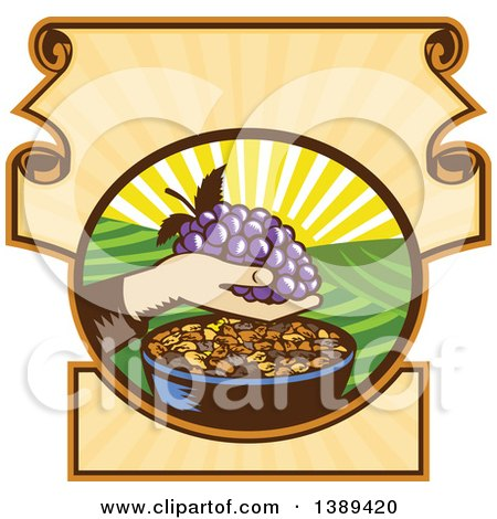 Clipart of a Retro Woodcut Hand Holding a Bunch of Purple Grapes over a Bowl of Raisins in a Scroll Crest with a Sunrise or Sunset - Royalty Free Vector Illustration by patrimonio