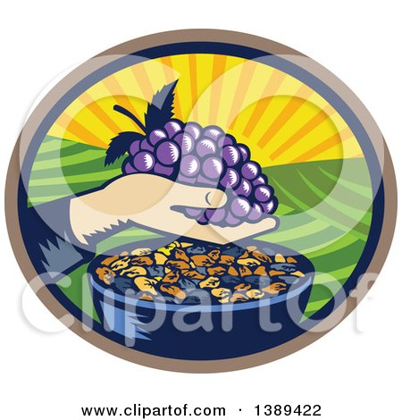 Clipart of a Retro Woodcut Hand Holding a Bunch of Purple Grapes over a Bowl of Raisins in an Oval with a Sunrise or Sunset - Royalty Free Vector Illustration by patrimonio