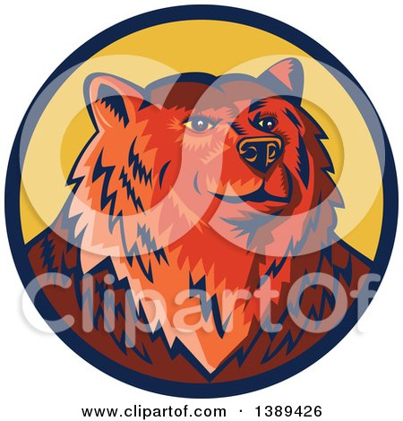 Clipart of a Retro Woodcut Eurasian Brown Bear in a Blue and Yellow Circle - Royalty Free Vector Illustration by patrimonio