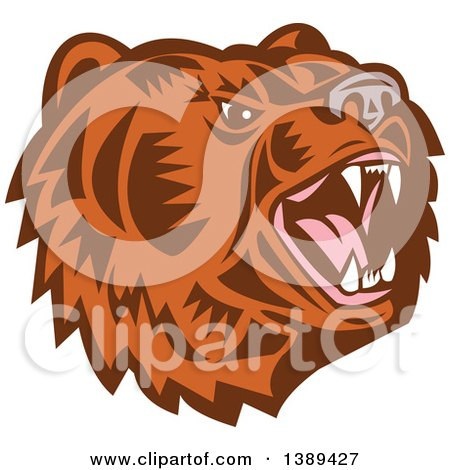 Clipart of a Retro Woodcut Roaring California Grizzly Bear Head - Royalty Free Vector Illustration by patrimonio