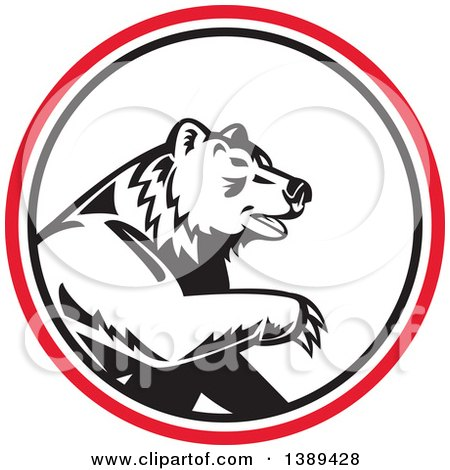 Clipart of a Retro California Grizzly Bear in a Black White and Red Circle - Royalty Free Vector Illustration by patrimonio